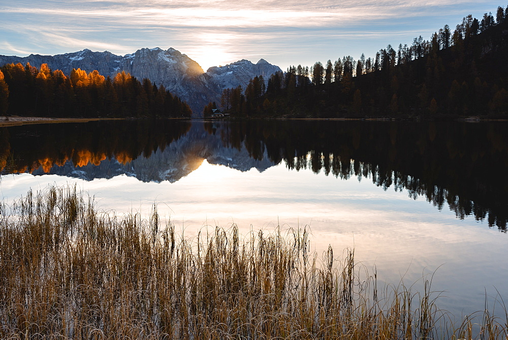 Autumn sunrise at Lake Malghette, Val Rendena, Trentino-Alto Adige, Italy, Europe - 1299-88