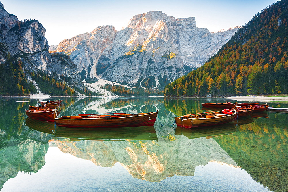 Alpine lake of Braies (Pragser Wildsee) in Trentino Alto Adige-South Tyrol, at dawn, Bolzano province, Dolomites, Italy, Europe - 1299-98