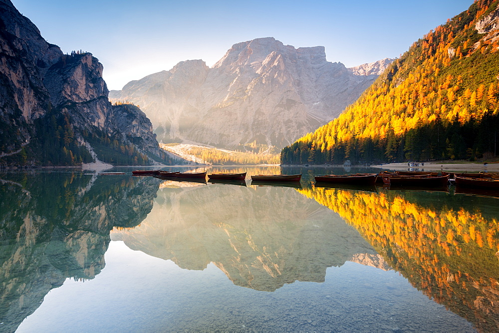 Alpine lake of Braies (Pragser Wildsee) in Trentino Alto Adige at dawn, Bolzano province, Dolomites, Italy, Europe - 1299-99
