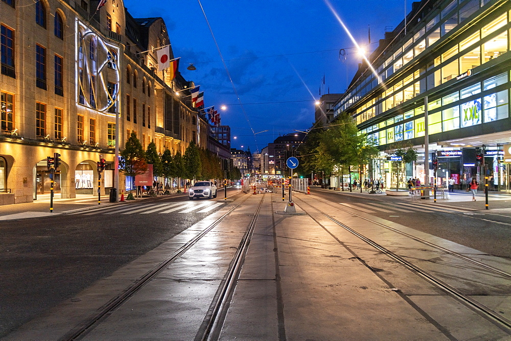The central Hamngatan in Norrmalm stretched between Sergels torg and Kungstradgarden, Stockholm, Sweden, Scandinavia, Europe - 1300-14