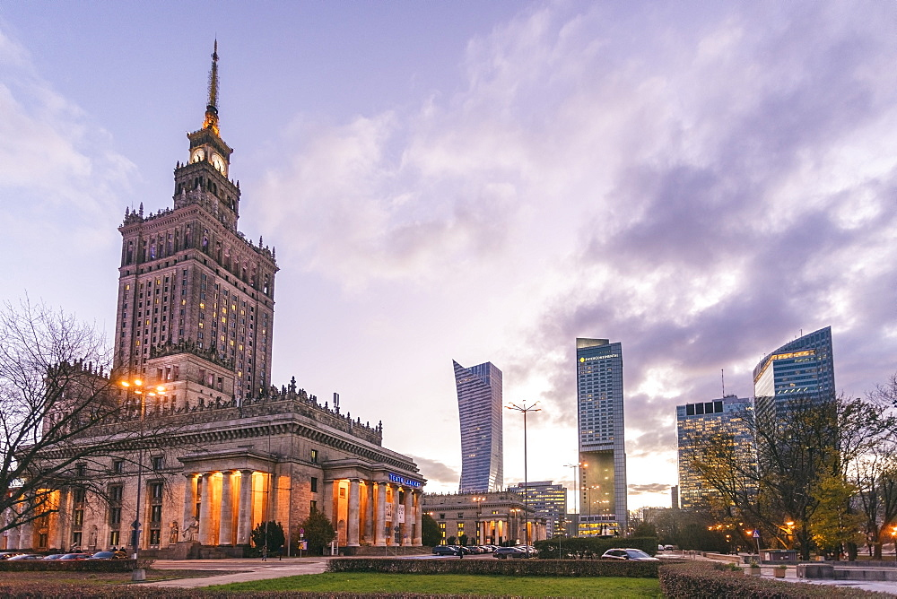 Palace of Culture and Science (Palac Kultury i Nauki) with the modern towers in the downtown area, Warsaw, Poland, Europe