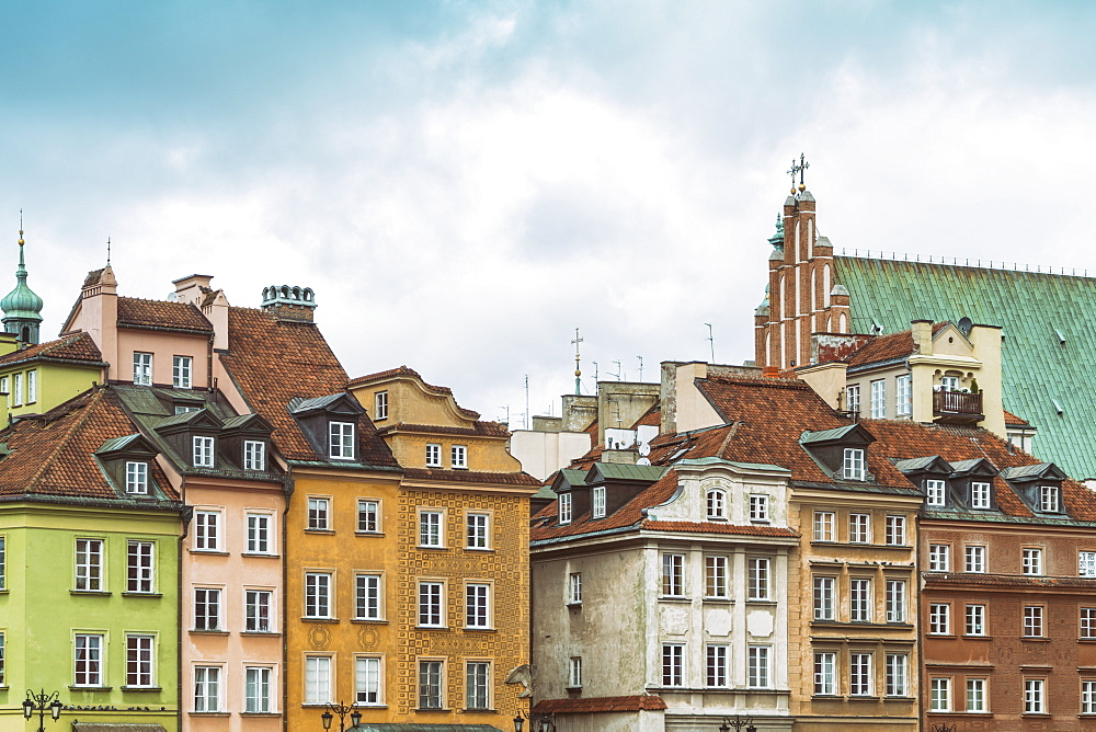 Historic buildings at the Castle Square (Plac Zamkowy), Old city, Warsaw, Poland - 1300-191