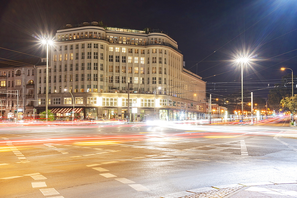 Soho house at Berlin Mitte close to Alexander Platz at night with light trails, Berlin, Germany, Europe - 1300-21