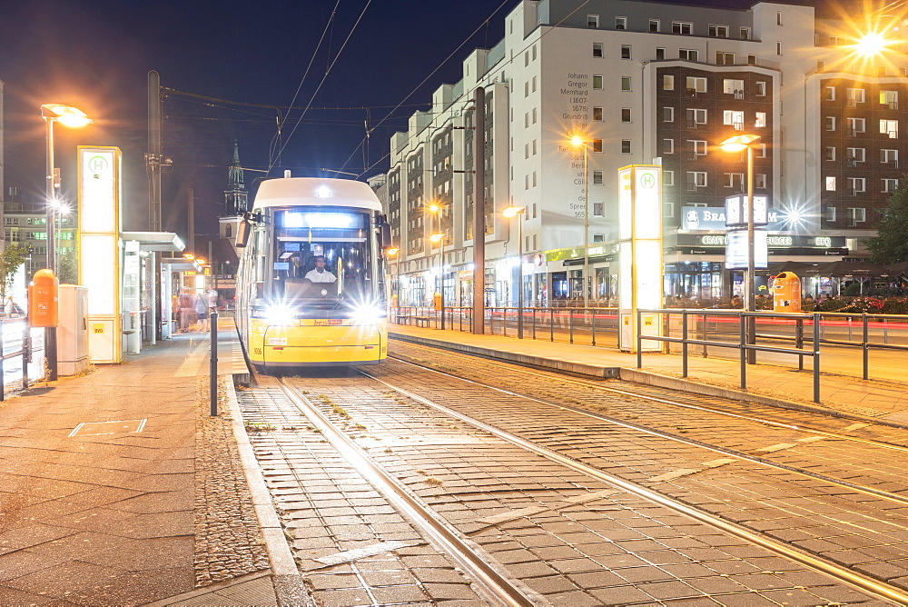 A tram station at Alexander Platz in Berlin Mitte by night, Berlin, Germany, Europe - 1300-22