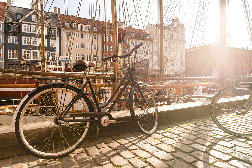 A bike parked on Nyhavn, the historic harbour, Copenhagen, Denmark, Europe