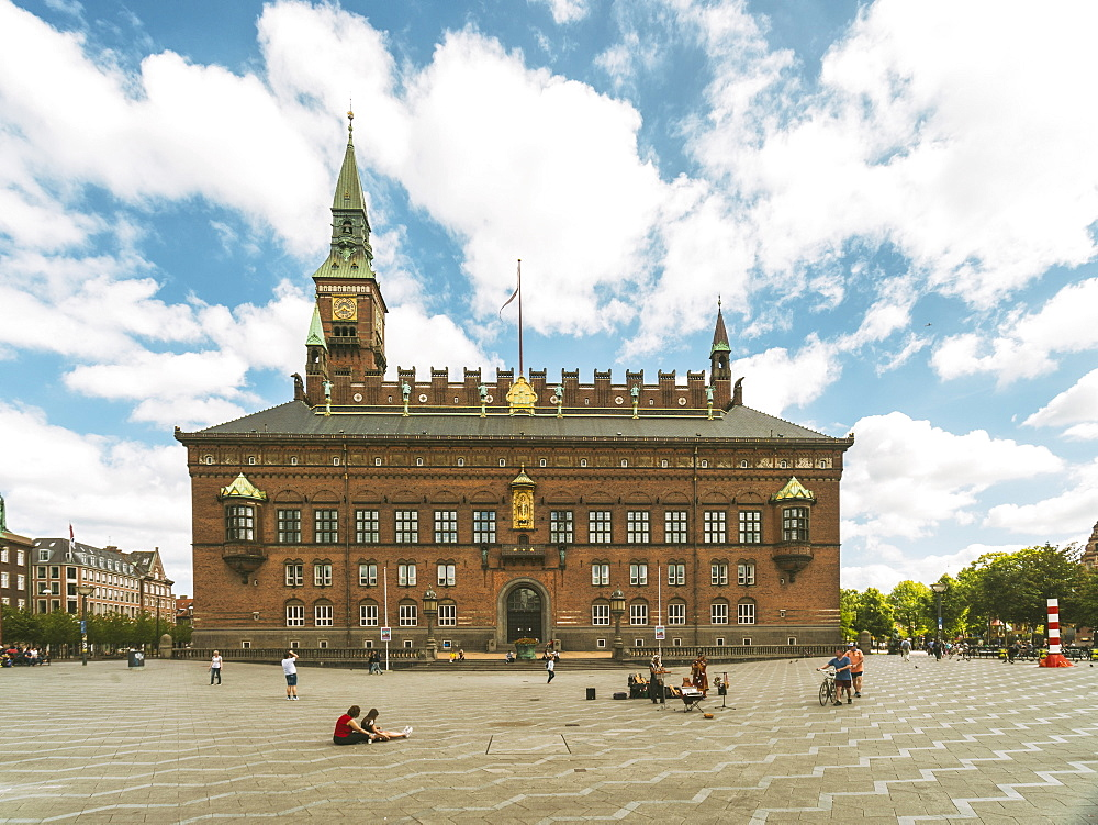 Copenhagen City Hall in summer with blue sky and clouds - 1300-231