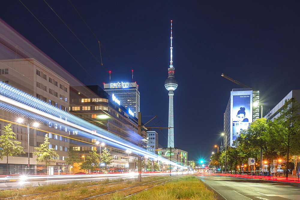 Alexander Platz by night with light trails, Berlin, Germany, Europe - 1300-24