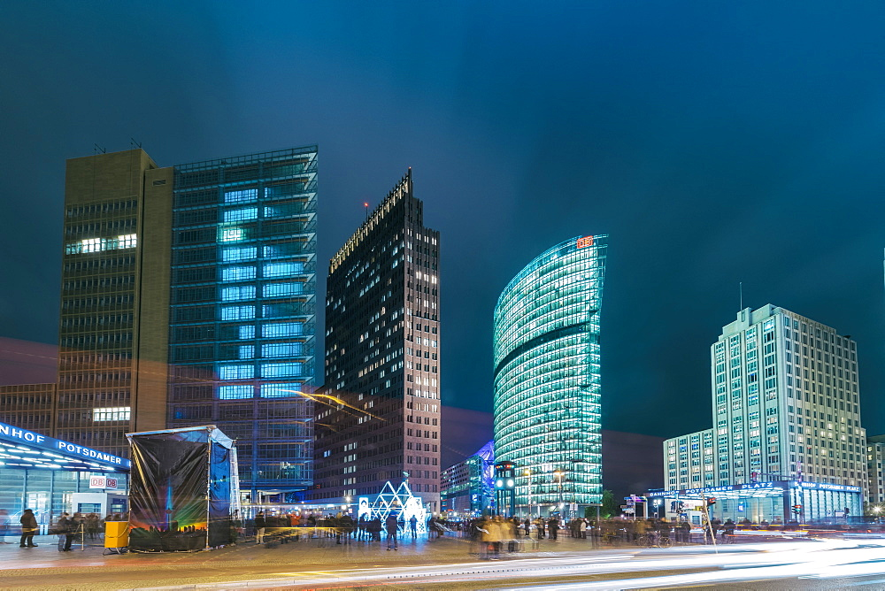 View of Potsdamer Platz in Berlin at night in autumn, Berlin, Germany, Europe