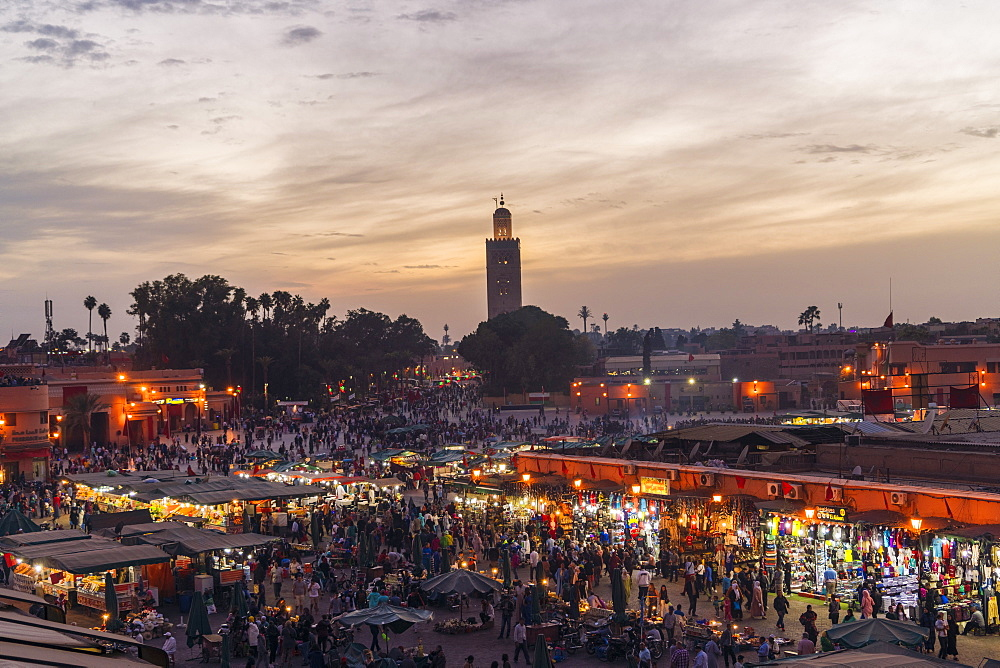 Jemaa el-Fnaa at sunset, bustling coartyard and market square - 1300-251