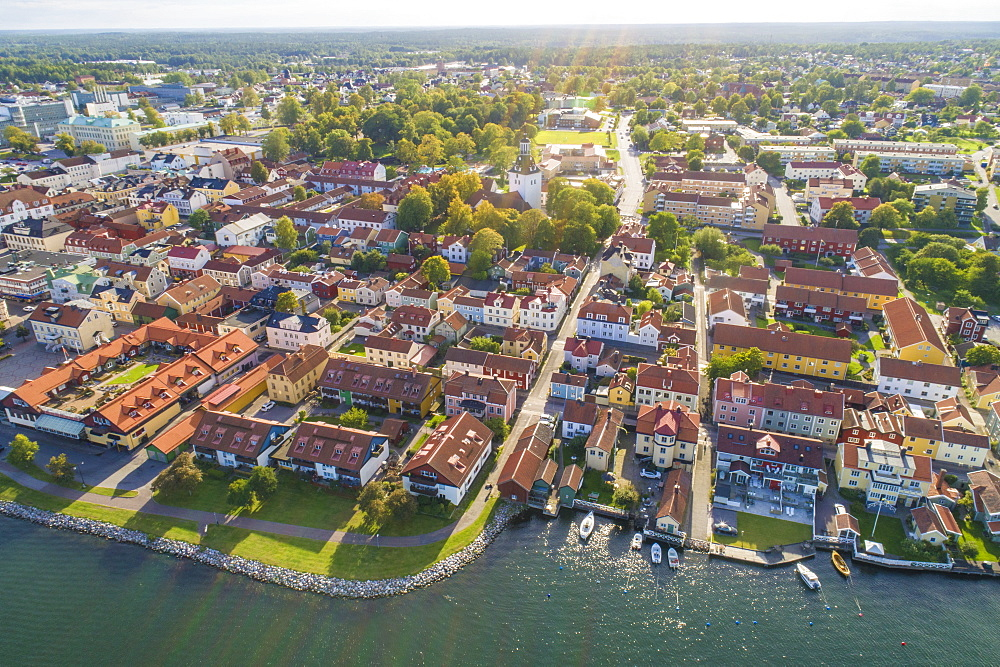 Aerial view of the old city of Vastervik in summer, Vastervik, Kalmar County, Sweden, Scandinavia, Europe