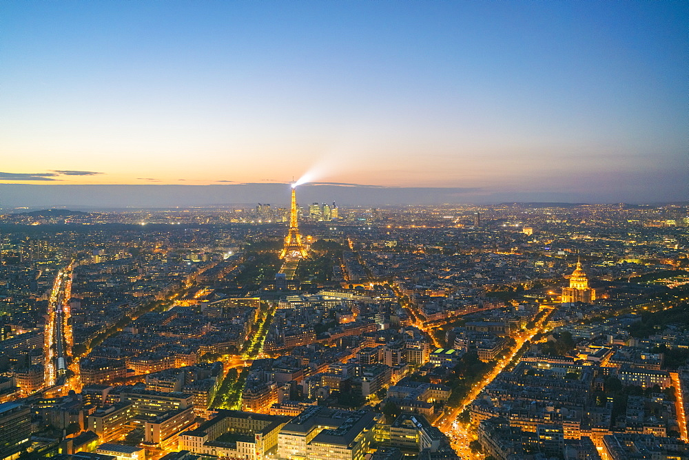 View of Paris from above Montparnasse Tower, Paris, France, Europe
