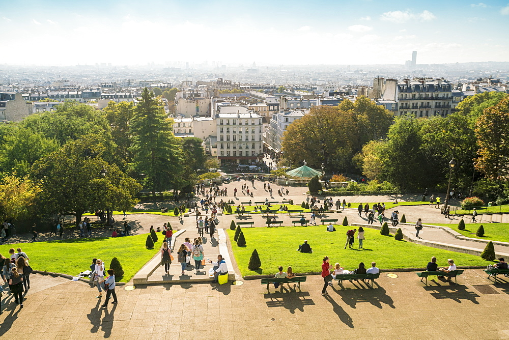 View from Sacre Coeur towards the city, Montmartre