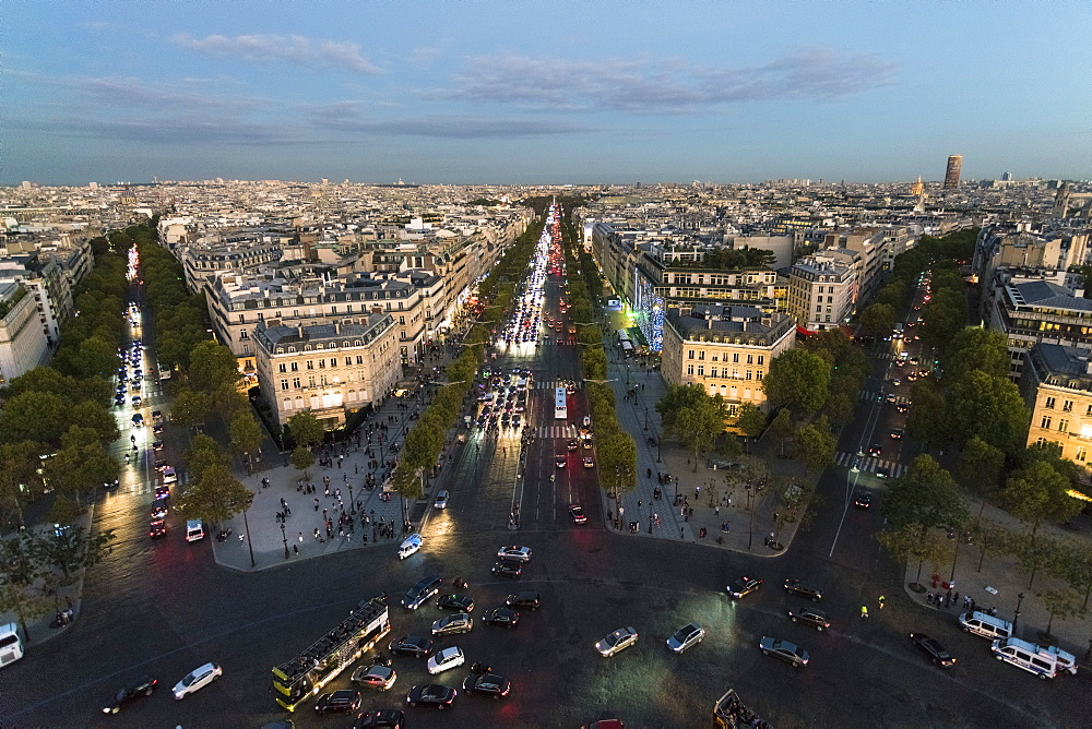 View from Arc de Triomphe in Paris towards Avenue des Champs-Elysees, Paris, France, Europe