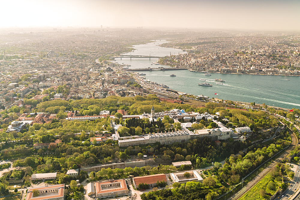 City of Istanbul from above with the royal palace topkabi on the foreground