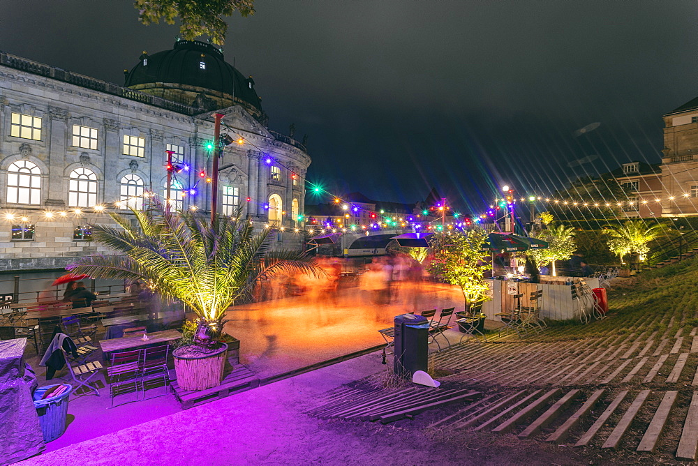 Dancing venue by the Spree River beside Bode Museum on the Museum Island, UNESCO World Heritage Site, Mitte, Berlin, Germany, Europe - 1300-30