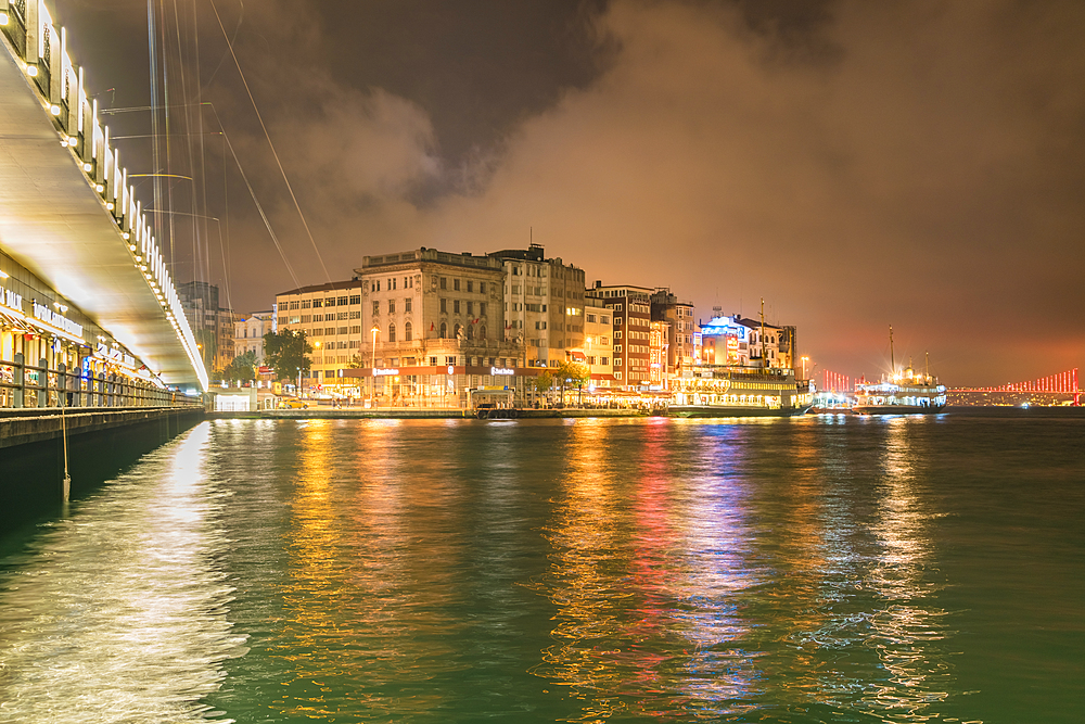 View of Kadikoy at night, the European part of Istanbul and the party district, Istanbul, Turkey, Europe