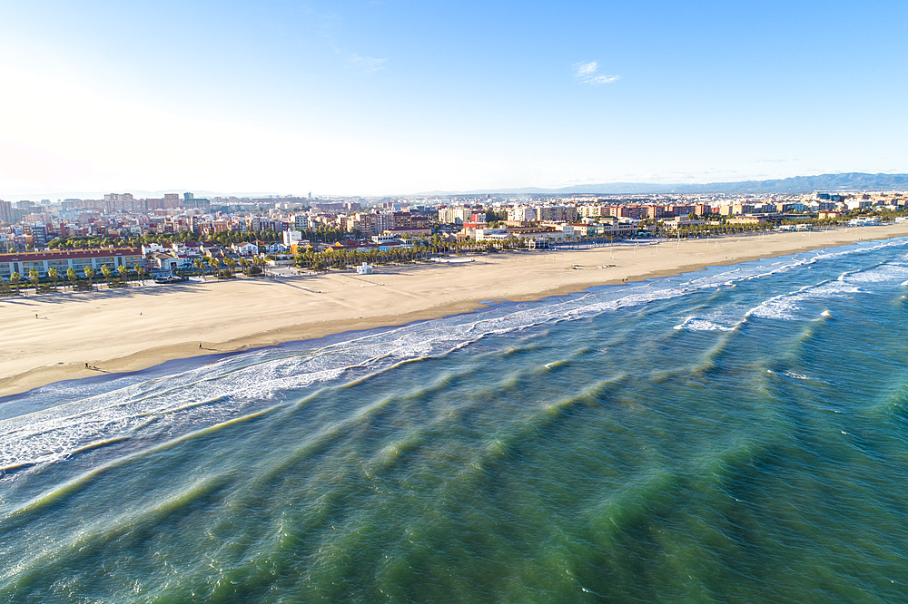 Aerial of the beach in Valencia in autumn, Valencia, Spain, Mediterranean, Europe