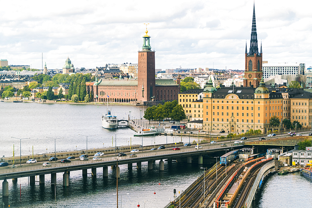 The townhall and the old part of Stockholm viewed from Slussen