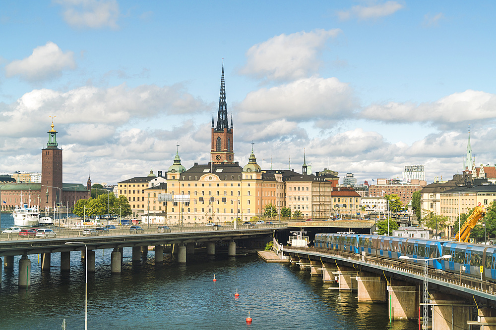 City center of Stockholm with Ridarholmenkirke