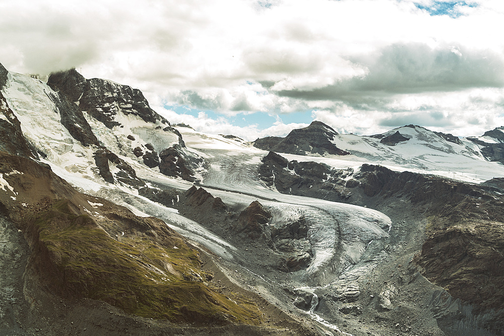 Glacier at Gornergrat near Zermatt in summer, Valais, Swiss Alps, Switzerland, Europe