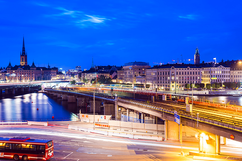 Slussen at night, Stockholm, Sweden, Scandinavia, Europe