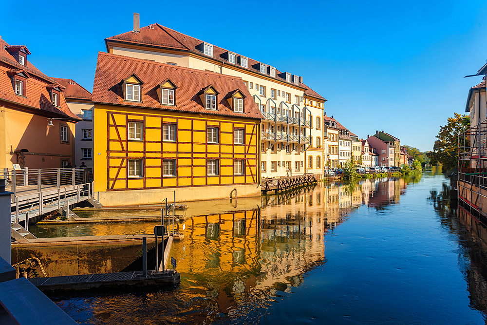 Historic houses in the city center of Bamberg by the river