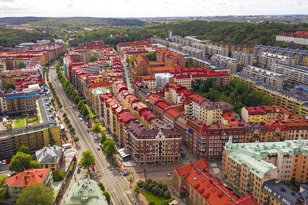 Aerial view by drone of Haga area on sunny day, Gothenburg, Sweden, Scandinavia, Europe