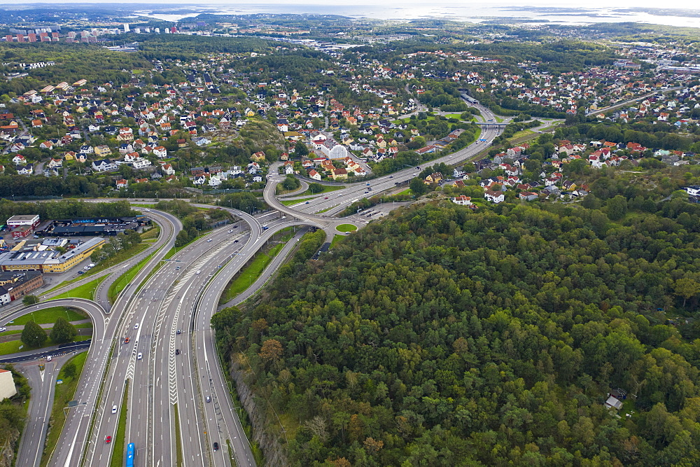 Aerial view by drone of Highway road in Gothenburg, Sweden, Scandinavia, Europe