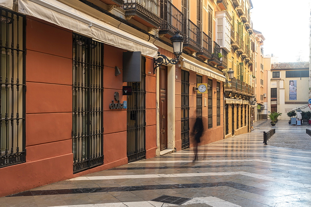 Old street with historic buldings at the center of Malaga, Andalusia, Spain, Europe