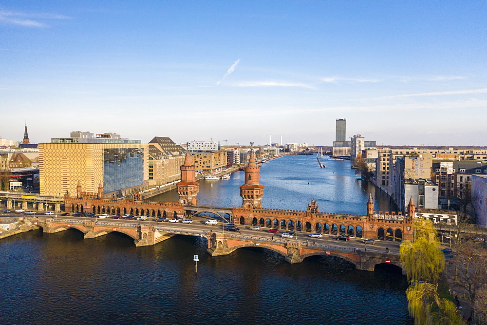 View from above of Oberbaum bridge, Spree River and Treptower park in the background, Berlin, Germany, Europe