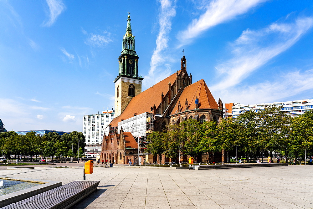 Marienkirche St Mary's Church on Alexander Platz with blue sky