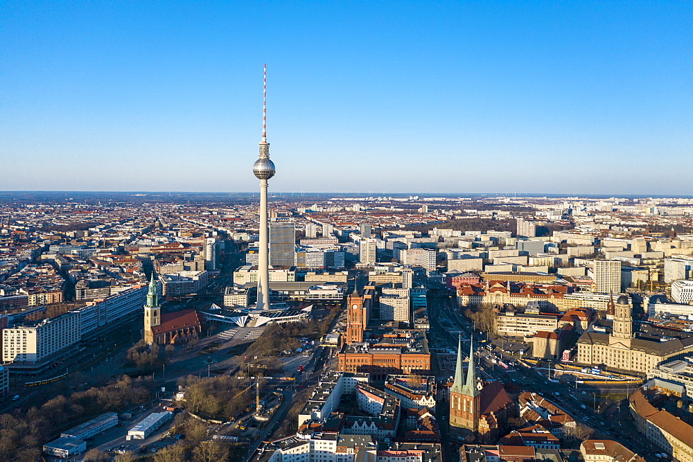 View of Alexander Platz with TV tower, Rotes Rathaus city hall and St. Marienkirche church, Berlin, Germany, Europe
