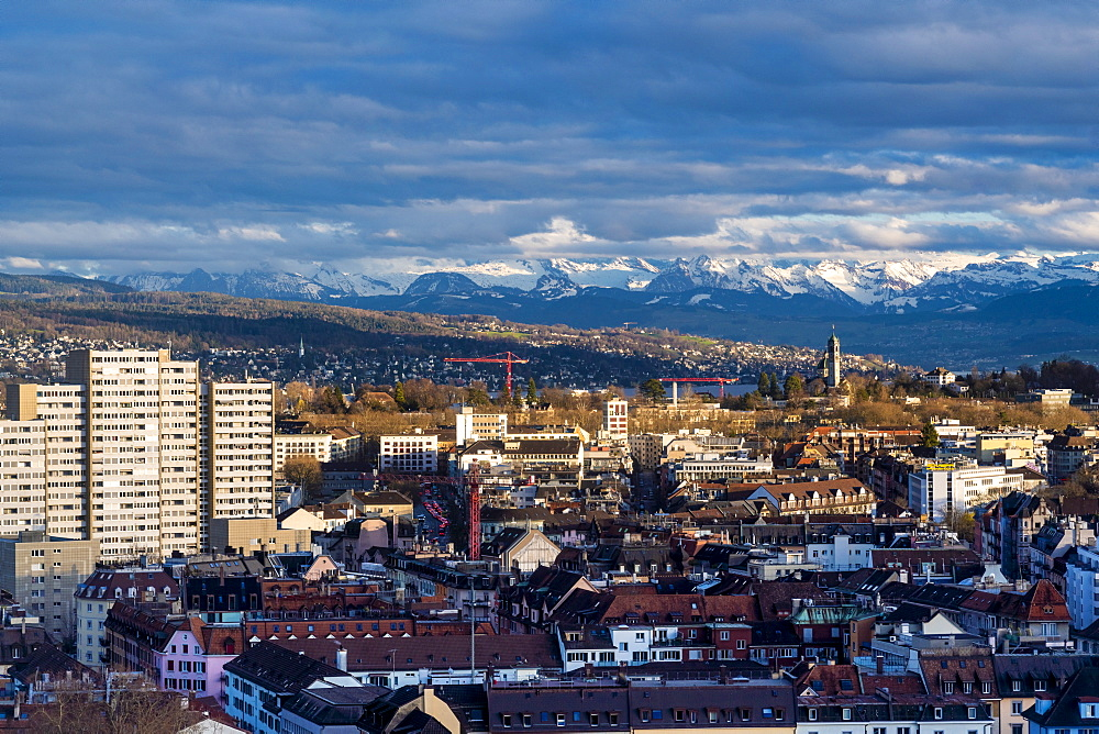 view of Zurich from above with mountains in the background, Zurich, Switzerland