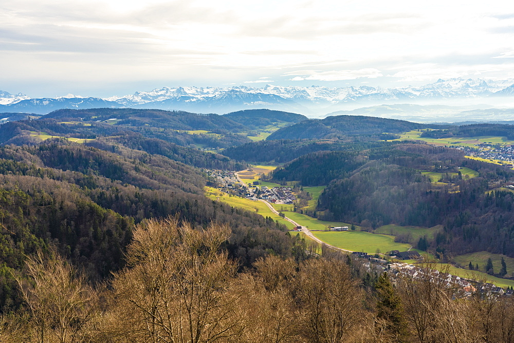 View of fields around Zurich with the Alps in the background from Uetliberg, Zurich, Switzerland