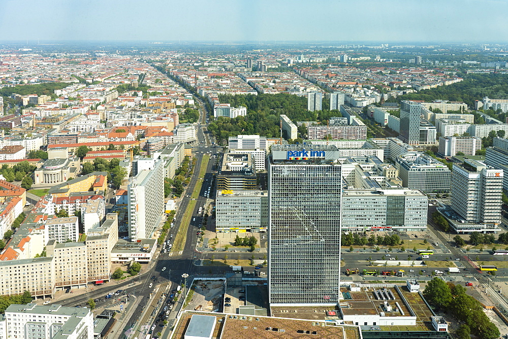 Aerial view of Parkinn hotel and Alexander Platz with Prenzlauer Berg in the background