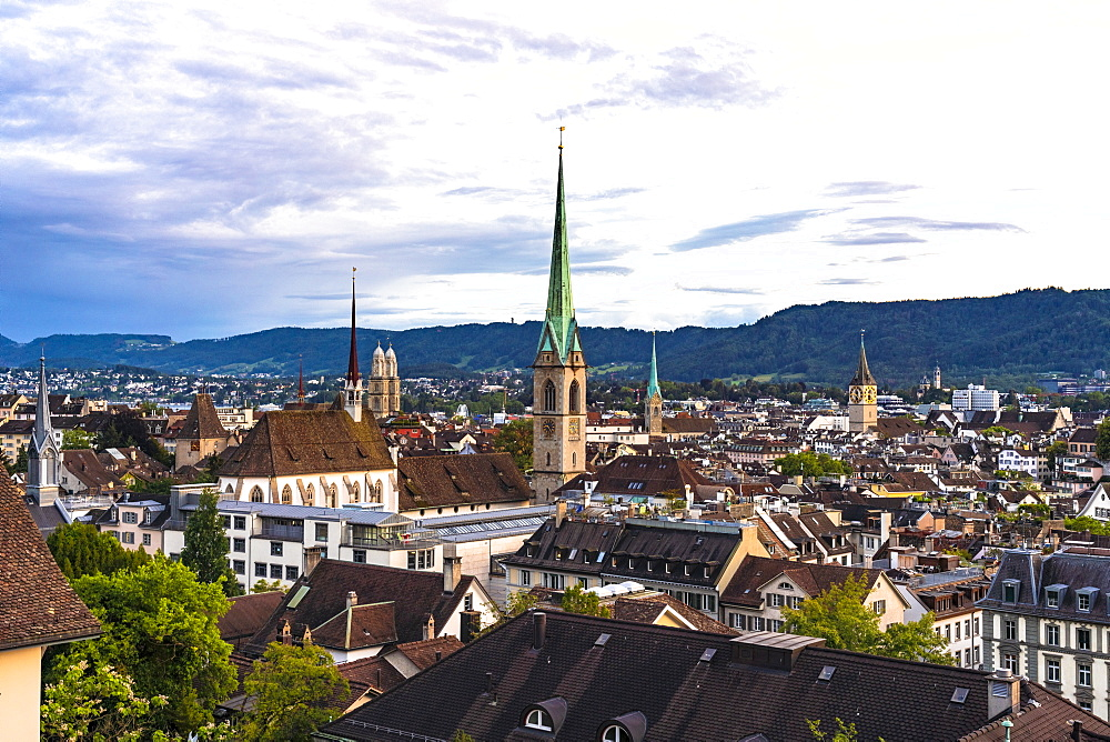View of the skyline of Niederdorf old town by sunset, Zurich, Switzerland, Europe - 1300-492