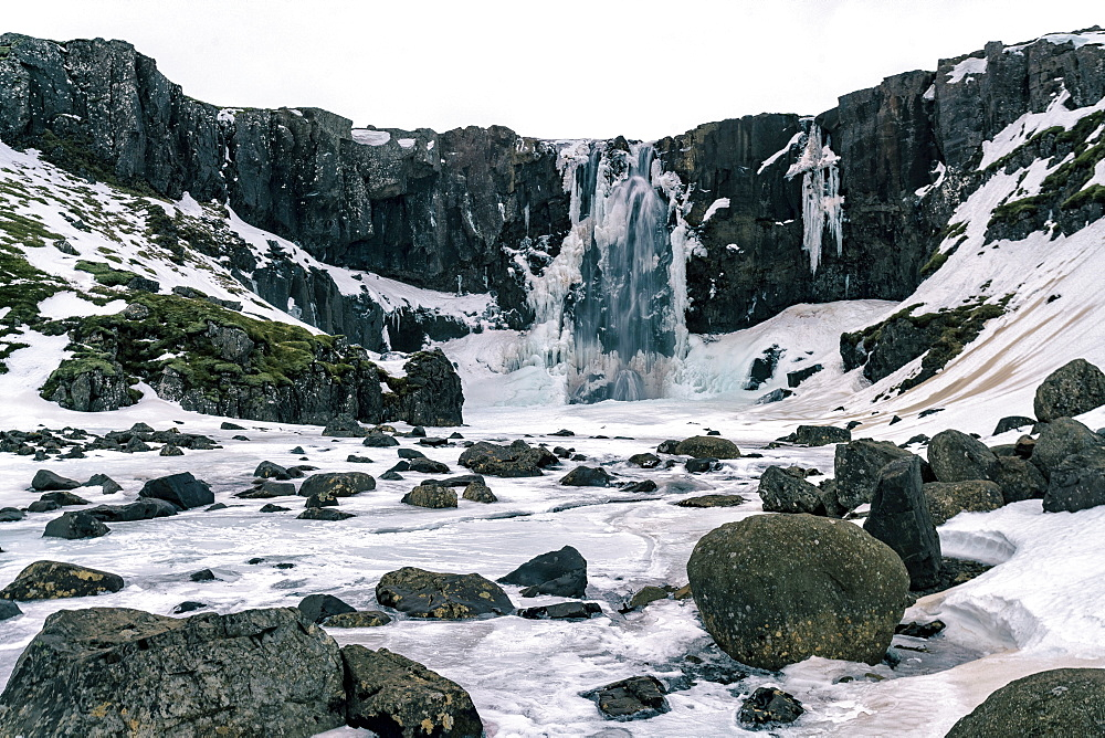 Gufufoss waterfall frozen in winter, Iceland, Polar Regions