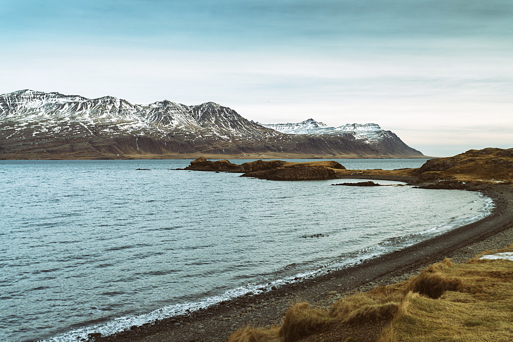 View of the mountains by the Fjords early in the morning at the south eastern corner of Iceland, Iceland, Polar Regions