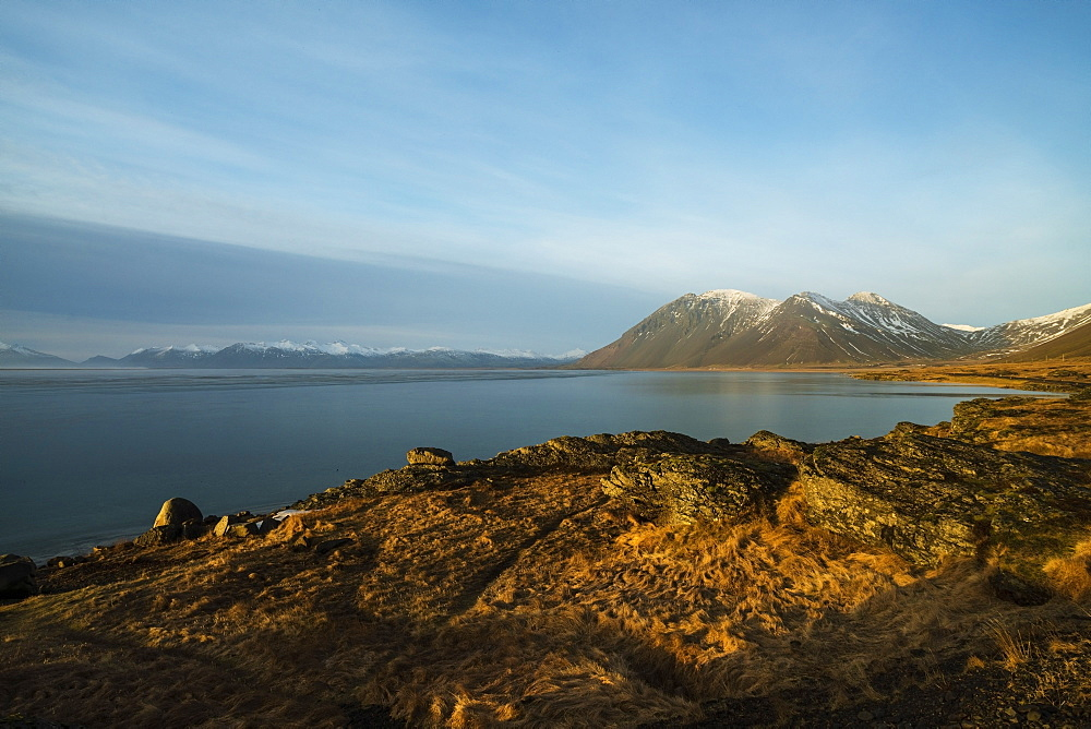 Vesturhorn at sunrise near the Fjords at the south eastern corner of Iceland, Iceland, Polar Regions - 1300-56