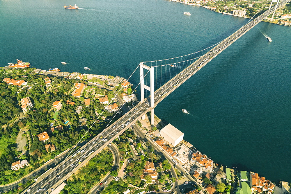 Aerial view of the Bosphorus Bridge in Besektas, Istanbul, Turkey, Europe