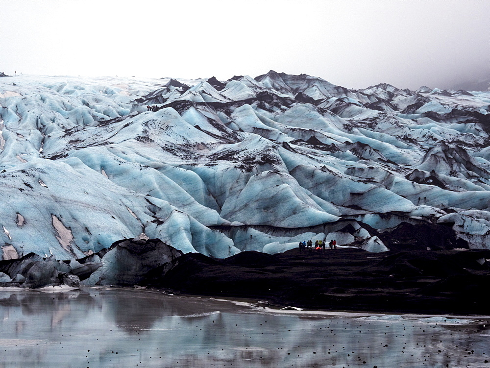 Solheimajokull Glacier in southern Iceland, between the volcanoes Katla and Eijafjallajokull, Iceland, Polar Regions