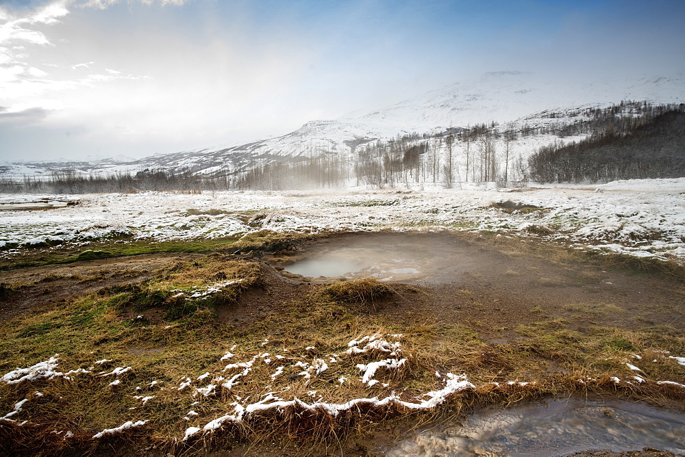 Geysir Hot Springs in Iceland at the Golden Circle about an hour from Reykyavik, Iceland, Polar Regions