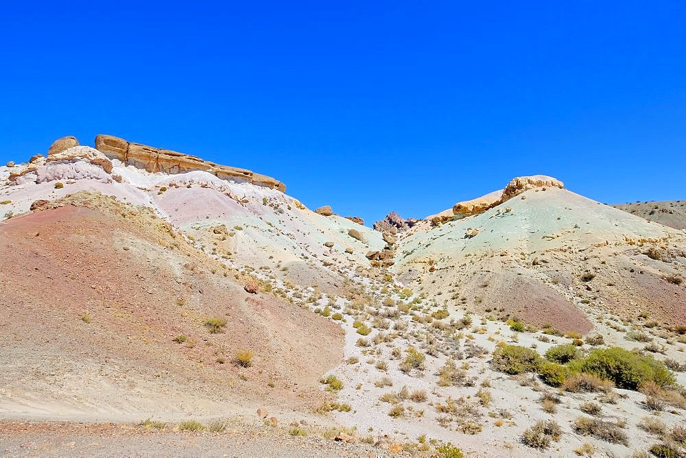 Colorful Cerro Siete Colores, Seven 7 Colors Mountain in the andean precordillera near Uspallata, Argentina, South America - 1301-47