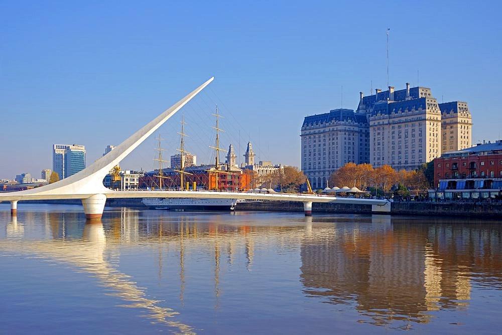 Puente de la Mujer, spanish for Woman's Bridge over Rio de la Plata river, Puerto Madero, Buenos Aires, Argentina, South America - 1301-52