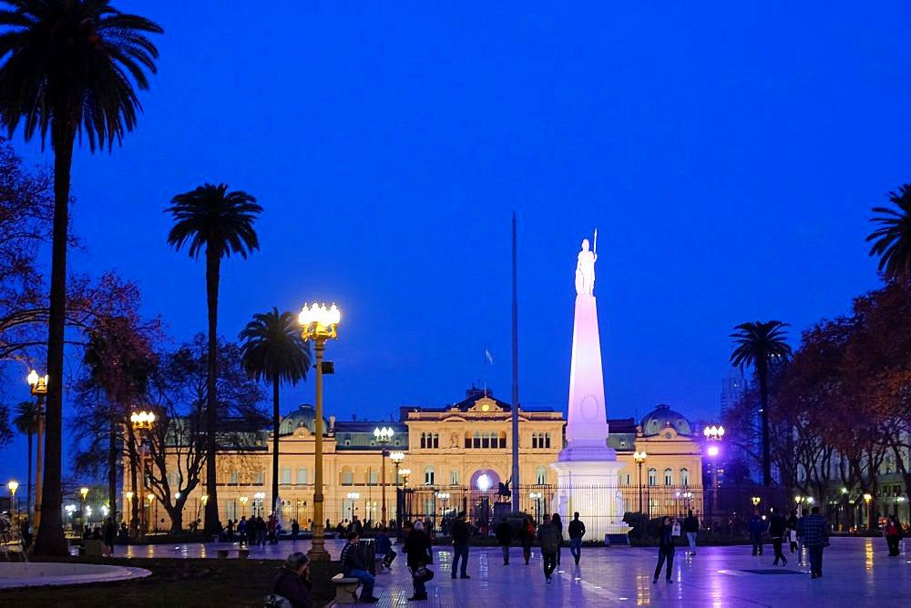 Plaza De Mayo with Piramide De Mayo and Casa Rosada, main city square in Buenos Aires, Argentina, South America - 1301-56