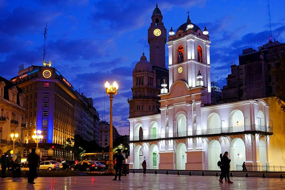 Buenos Aires Cabildo, the old town council, by night, Plaza De Mayo, main city square in Buenos Aires, Argentina, South America - 1301-57