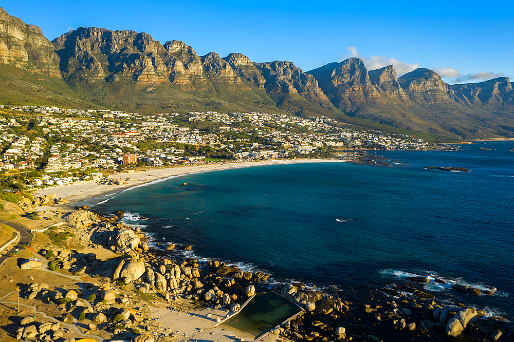 Clifton Beach, Cape Town in South Africa at sunset.