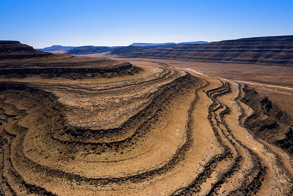 A drone shot of the Fish River Canyon, the second largest canyon in the world, Namibia, Africa - 1304-30