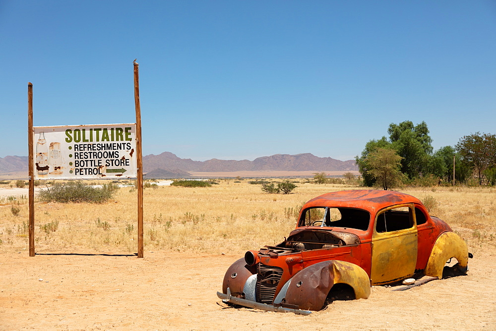 Solitaire, a cool town full of rusting cars, bikes and disused fuel pumps, Solitaire, Namibia, Africa - 1304-74