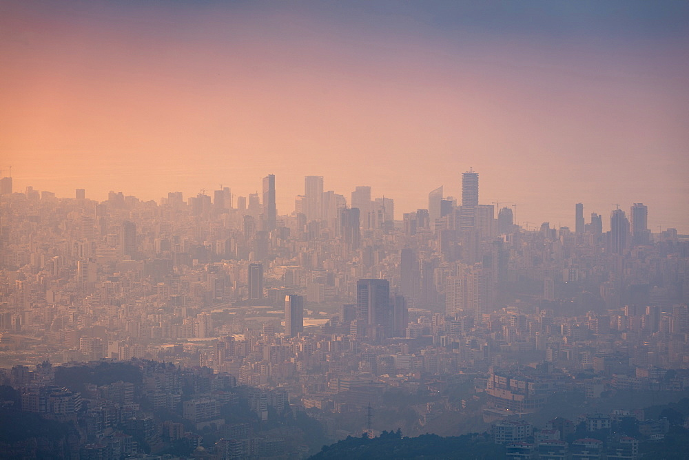 Looking towards Beirut to Aley (high ground), during golden hour on a hazy day, Beirut, Lebanon, Middle East